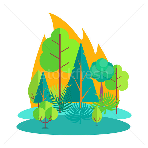 Forest Engulfed in Fire Isolated Illustration Stock photo © robuart