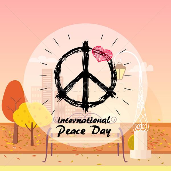международных мира день логотип хиппи знак Сток-фото © robuart