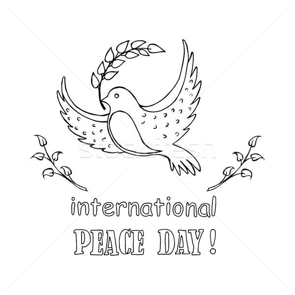 Internacional paz día logo incoloro paloma Foto stock © robuart