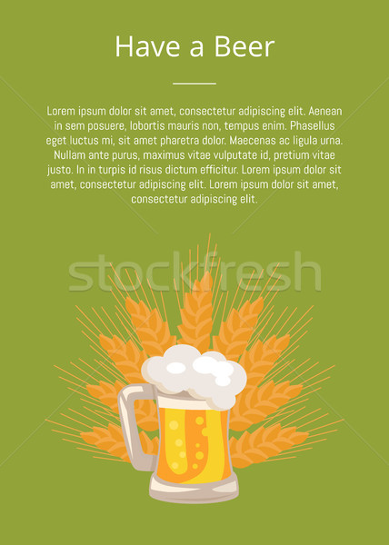Have a Beer Poster Traditional Glass with White Foam Stock photo © robuart