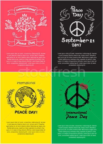 Peace Day International Holiday Posters with Earth Stock photo © robuart