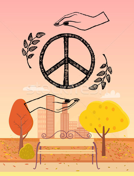 Hippie Logo Protected by Hands Vector Illustration Stock photo © robuart