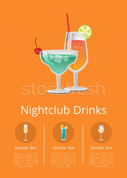 Foto stock: Boate · álcool · bebidas · publicidade · cartaz · ícones