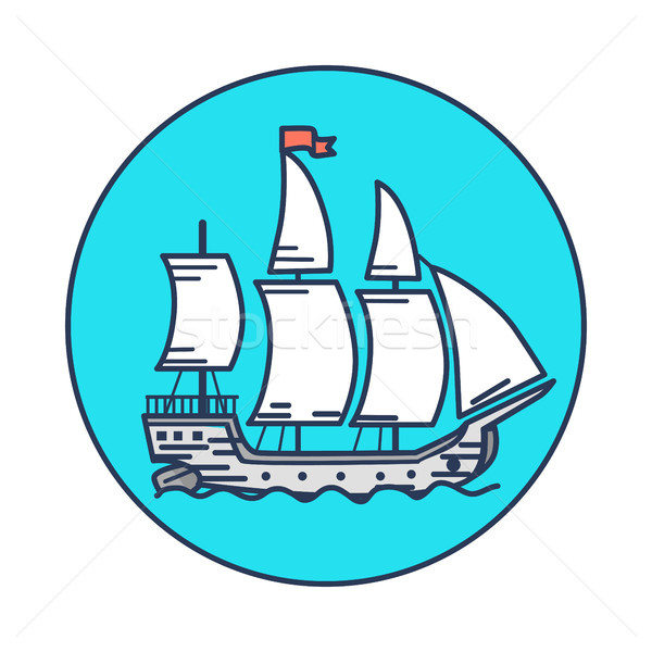 Ancient Wooden Ship with White Sails on Water Stock photo © robuart
