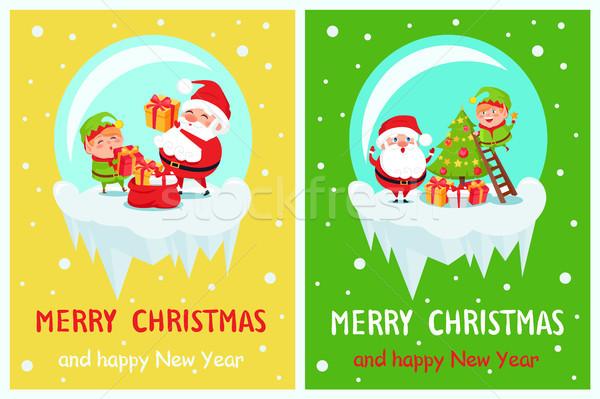 Stok fotoğraf: Neşeli · Noel · ayarlamak · posterler · happy · new · year