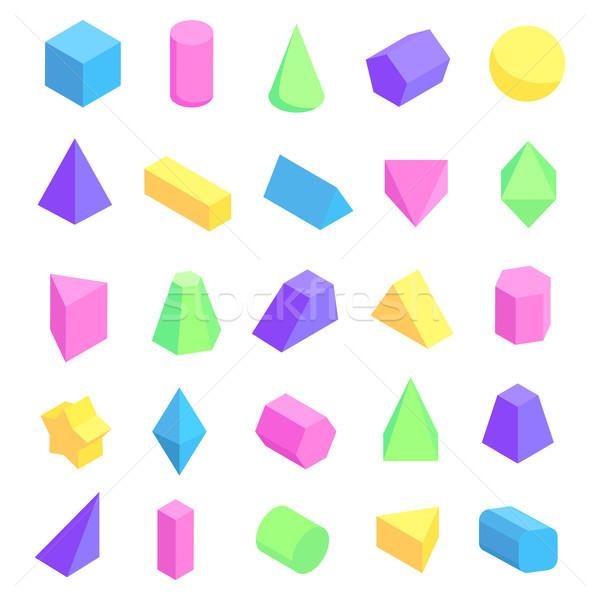 Tarka mértani formák poszter 3D kocka Stock fotó © robuart