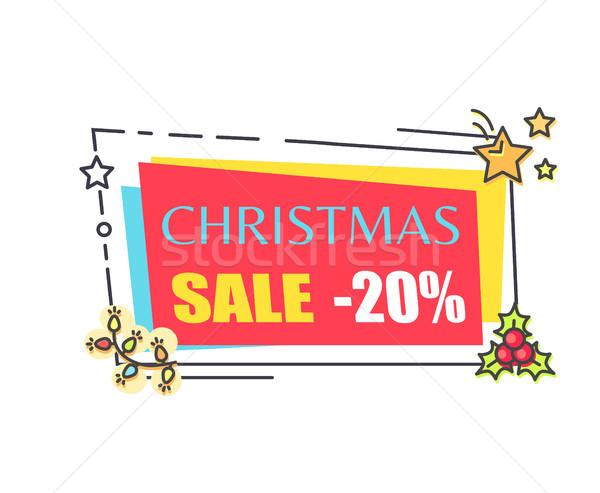 ストックフォト: クリスマス · 販売 · 20 · オフ · 宣伝広告 · ステッカー