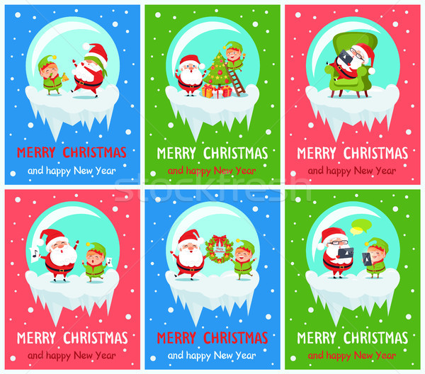 Merry Christmas Claus and Elf Vector Illustration Stock photo © robuart