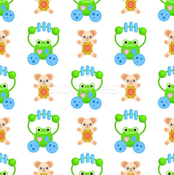 Seamless Pattern with Frogs and Plush Bears Toys Stock photo © robuart
