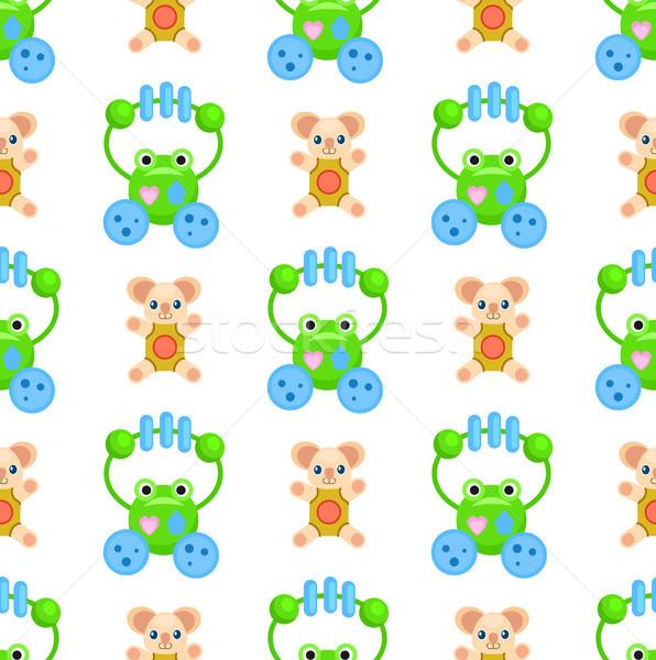 плюш Медведи игрушками зеленый коричневый Сток-фото © robuart