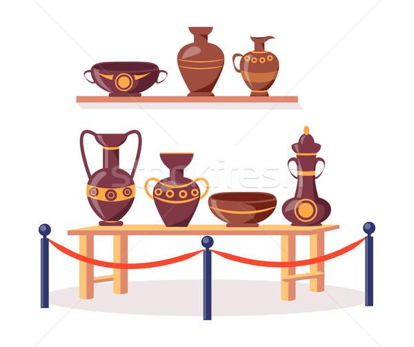 Set of Ancient Greek Pottery Isolated Illustration Stock photo © robuart