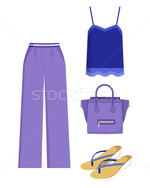 Lilac Trousers and Handbag, Blue Shirt, Color Card Stock photo © robuart