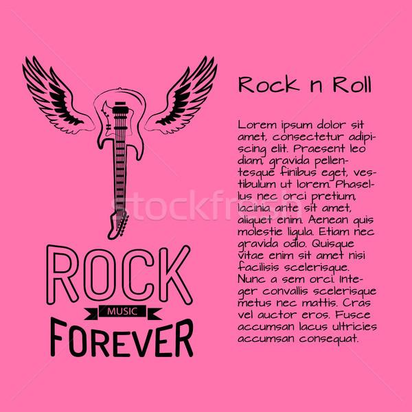 Rock rollen muziek voor altijd poster elektrische gitaar Stockfoto © robuart