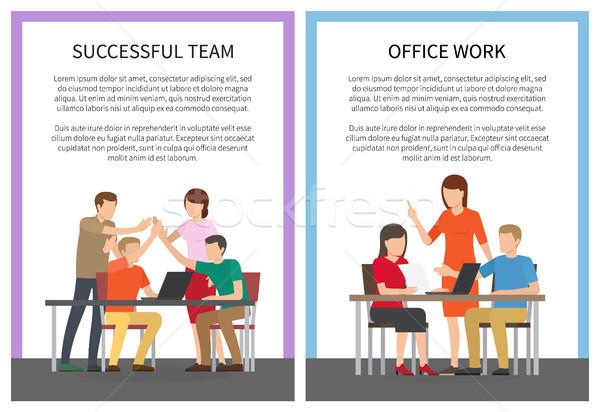 Başarılı takım ofis işleri ayarlamak posterler işçiler Stok fotoğraf © robuart