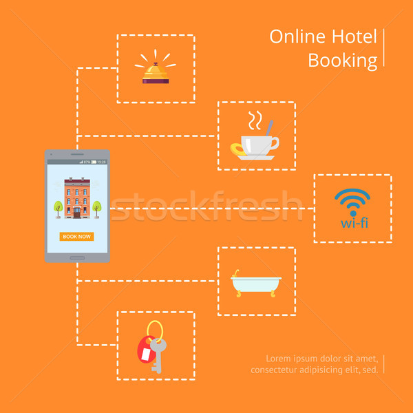 Online Hotel Booking Vector Graphic Illustration Stock photo © robuart