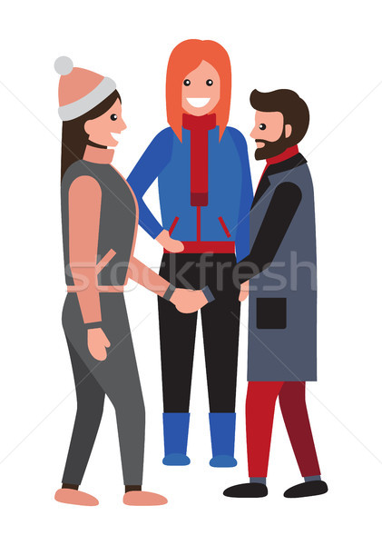 Man and Woman Shaking Hands During Talk at Winter Stock photo © robuart