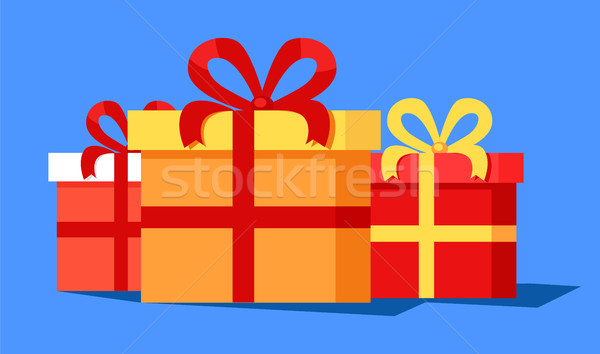 Three Cute Gift Boxes Banner Vector Illustration Stock photo © robuart
