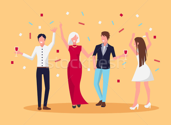 Celebrating People Confetti Vector Illustration Stock photo © robuart