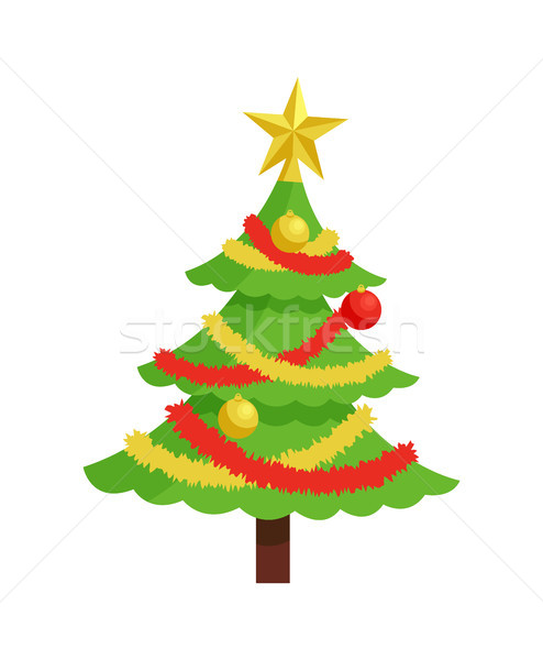 New Year Tree Icon on Stand Decorated by Garland Stock photo © robuart