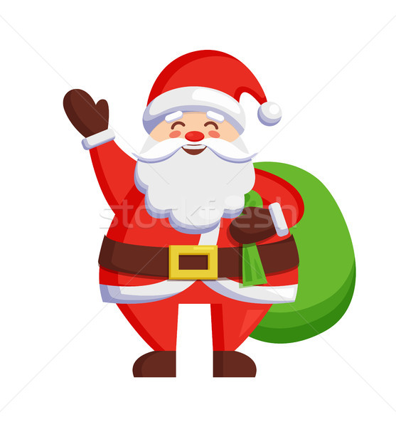 Santa Claus and Bag with Gifts Vector Illustration Stock photo © robuart