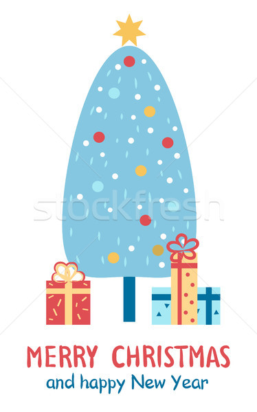Merry Christmas and Happy New Year Congratulation Stock photo © robuart
