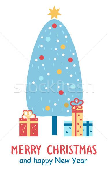 Vidám karácsony boldog új évet gratuláció képeslap karácsony Stock fotó © robuart