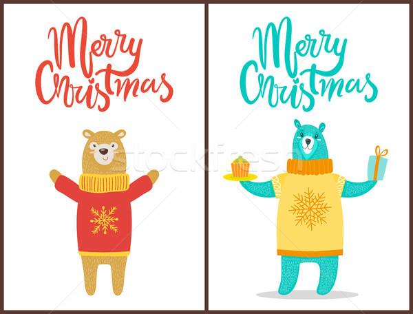 Heiter Weihnachten Plakat Glückwunsch Bären Pullover Stock foto © robuart