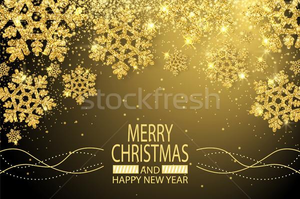 Vidám karácsony boldog új évet gratuláció kártya szalag Stock fotó © robuart