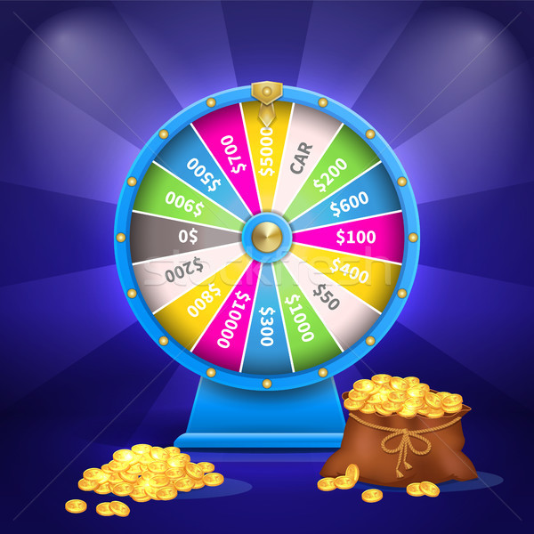 Wheel of Luck or Fortune Sack Full of Golden Coins Stock photo © robuart