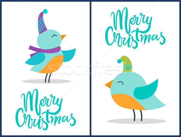 Merry Christmas Greeting Cards Tiny Birds Posters Stock photo © robuart