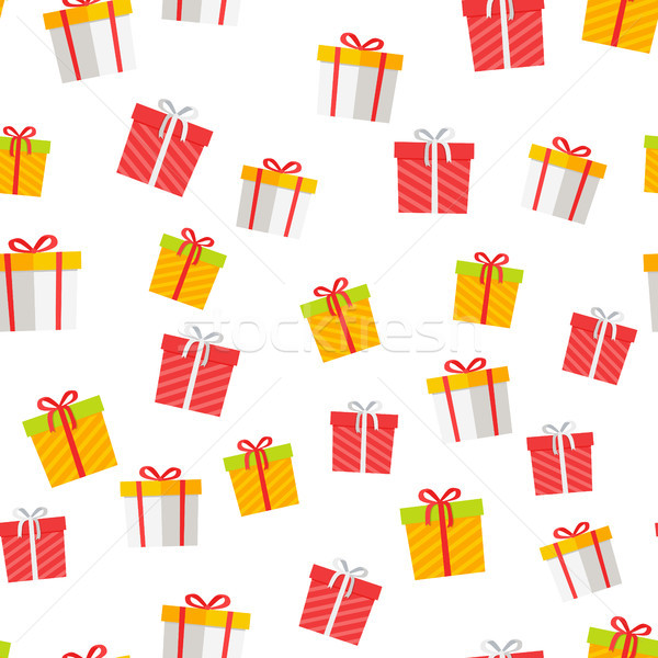 Colorful Giftboxes Vector Cartoon Seamless Pattern Stock photo © robuart