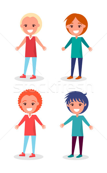 Smiling Preschool Boys in Clothes and Hairstyles Stock photo © robuart