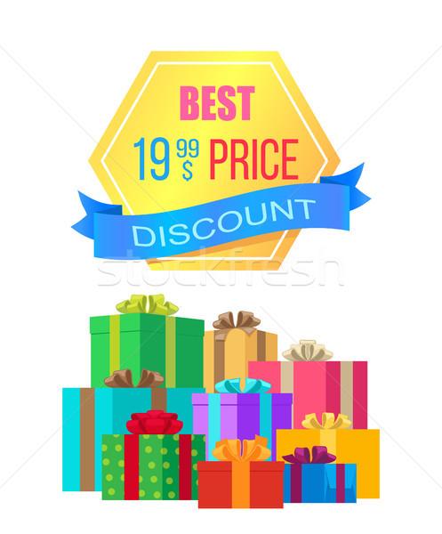 Legjobb ár árengedmény embléma címke szalag ajándékdobozok Stock fotó © robuart