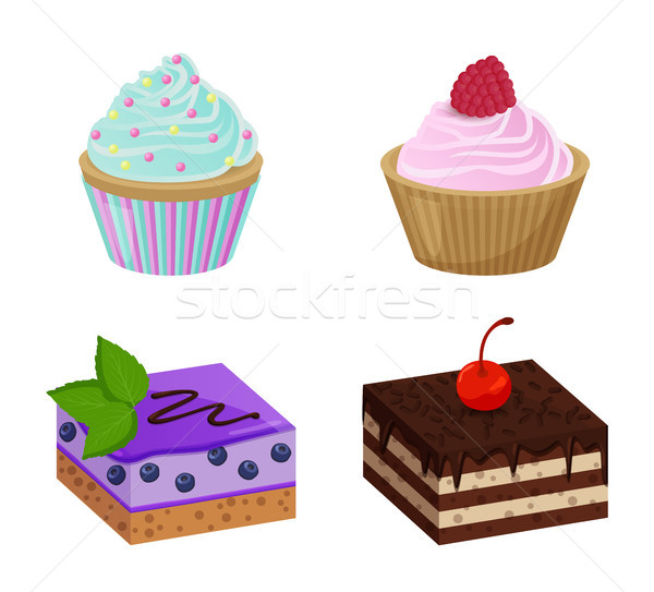 Various Cakes with Cupcakes Vector Illustration Stock photo © robuart