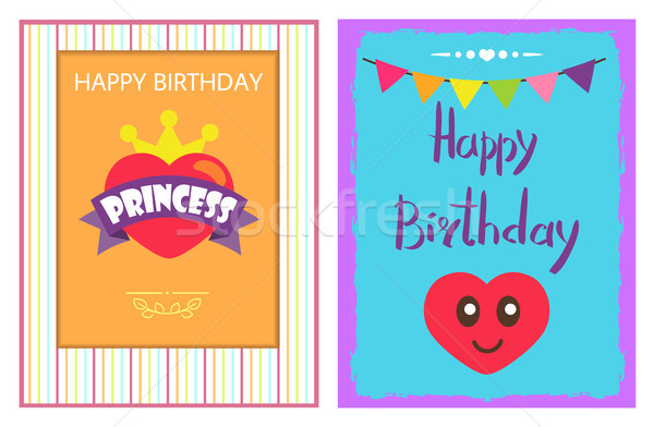 Happy Birthday Princess Poster, Heart and Crown Stock photo © robuart