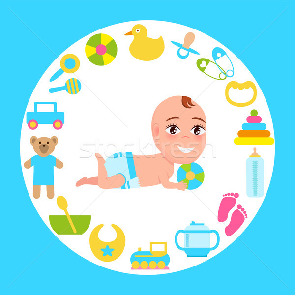 Mosolyog baba csecsemő pelenka játszik szín Stock fotó © robuart
