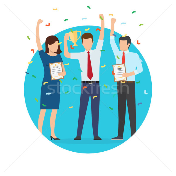 Businessman and Prize Poster Vector Illustration Stock photo © robuart