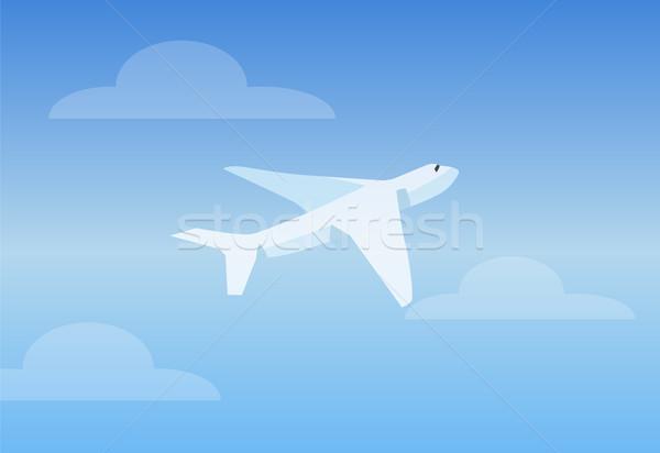 Zdjęcia stock: Biały · jasne · niebo · samolotów · Błękitne · niebo · kolor