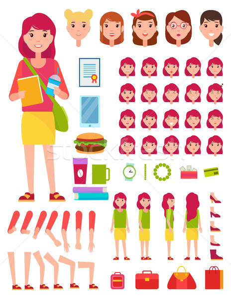 Young Girl Construction Set Vector Illustration Stock photo © robuart