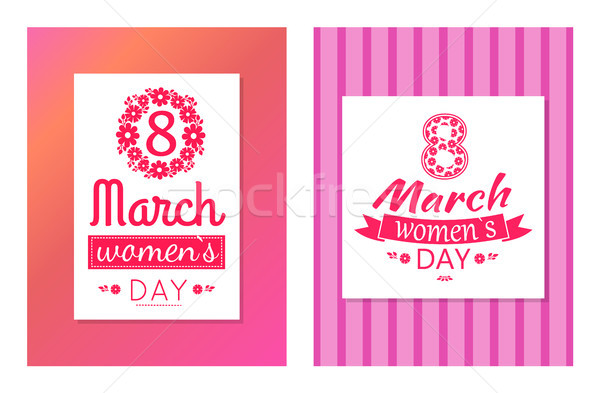 Set of Greeting Cards Design 8 March Day Postcards Stock photo © robuart