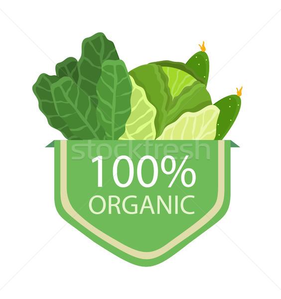 Organikus 100 káposzta saláta termékek gyűjtemény Stock fotó © robuart