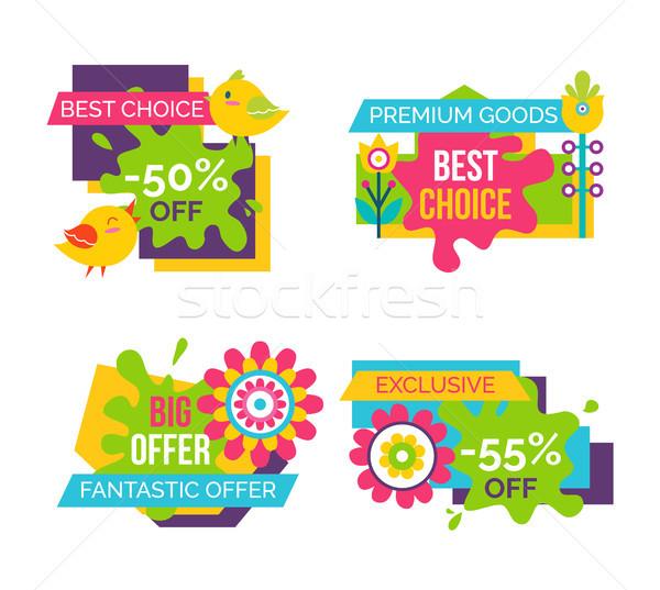 Legjobb választás vásár címkék szett madarak virágzó Stock fotó © robuart