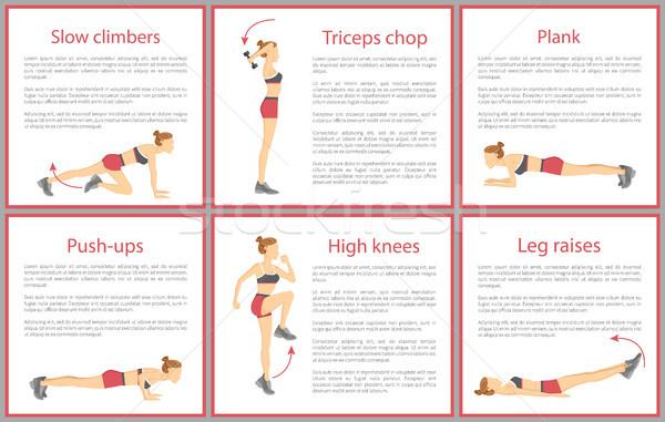 Devagar pôsteres tricípite flexões Foto stock © robuart