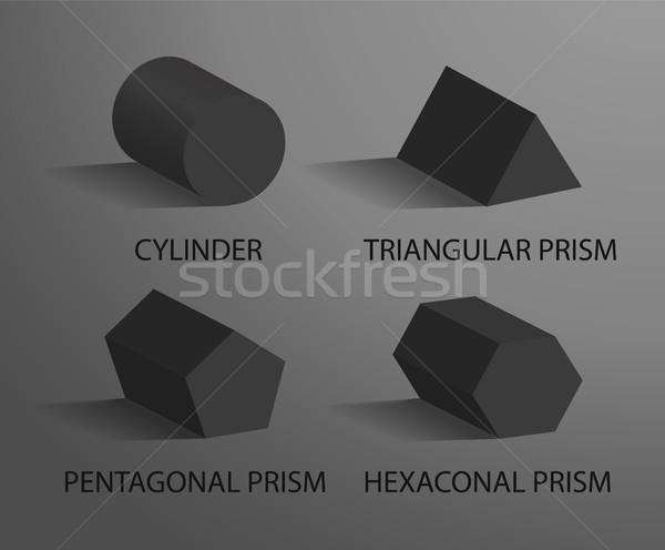 Cilindro prisma preto geométrico isolado cinza Foto stock © robuart
