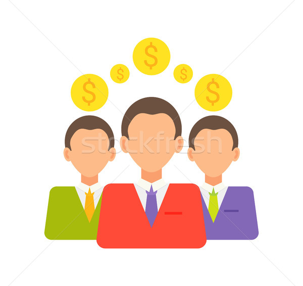 Stock photo: Investors and Coins Collection Vector Illustration