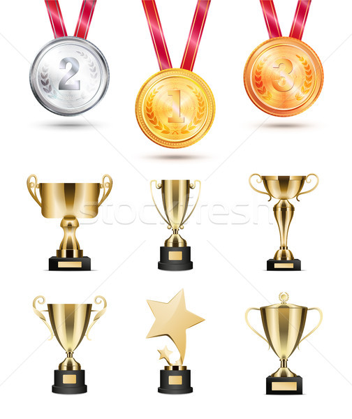 Medals for Competition, Golden Cups and Awards Set Stock photo © robuart