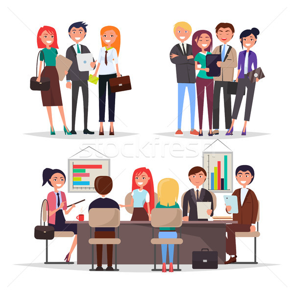 Young Businessmans on Conference Colorful Banner Stock photo © robuart