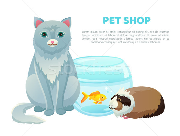 Pet Shop Banner With Various Animals and Text Stock photo © robuart
