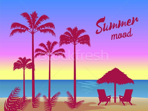 Nyár hangulat poszter pálmafák esernyő kettő Stock fotó © robuart
