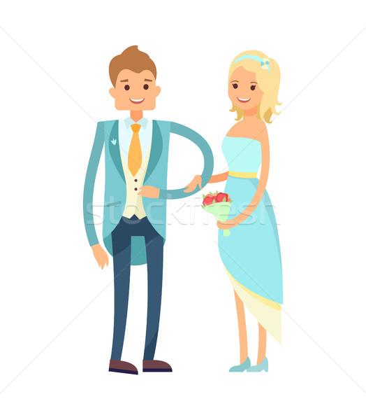 Menyasszony vőlegény jó hangulat izgatott pár friss házasok Stock fotó © robuart